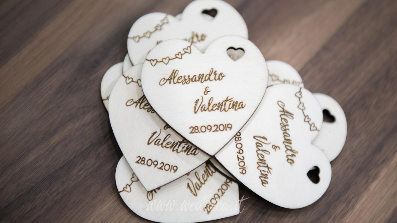 Segnaposti cuore legno