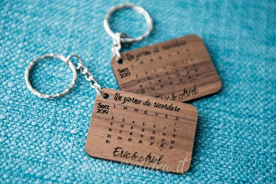 Idea matrimonio con save the date con portachiavi