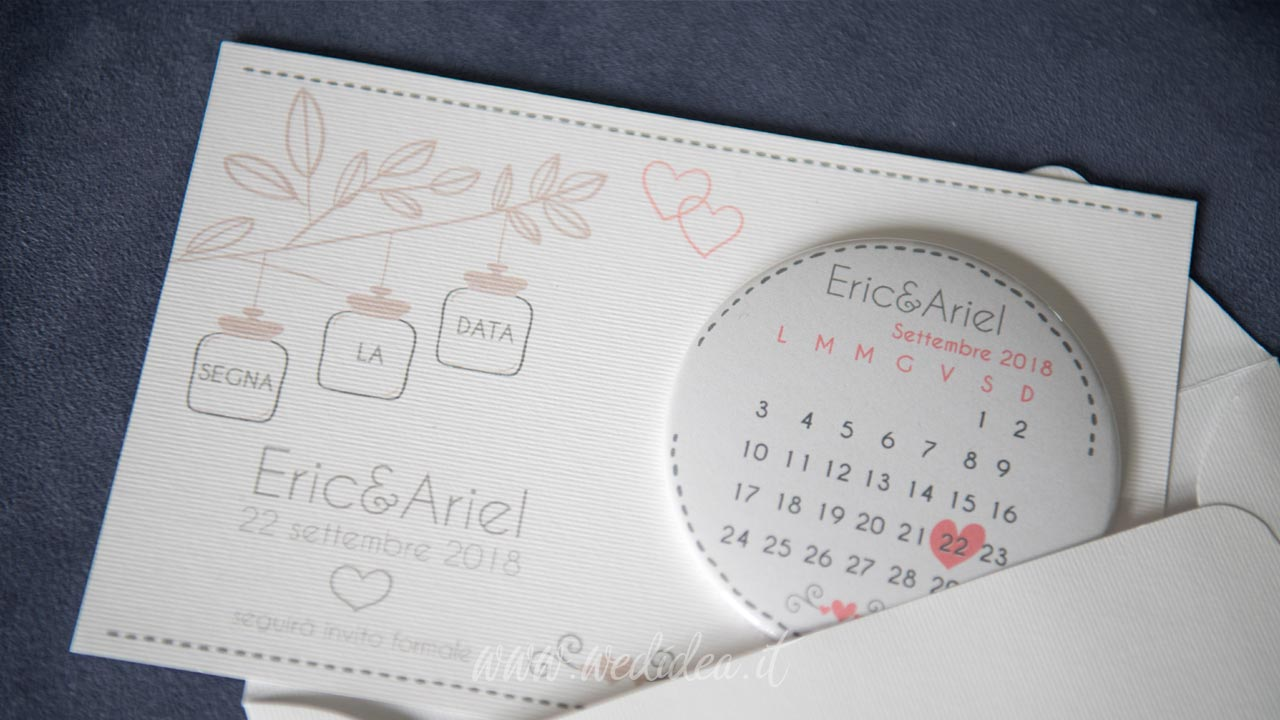 Magnete con save the date matrimonio