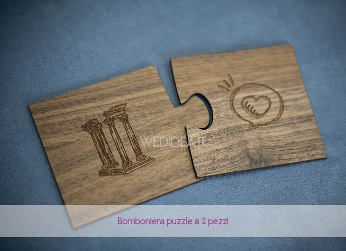 Bomboniera puzzle matrimonio 2 pezzi