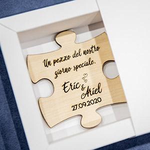 Bomboniera tema puzzle con magnete
