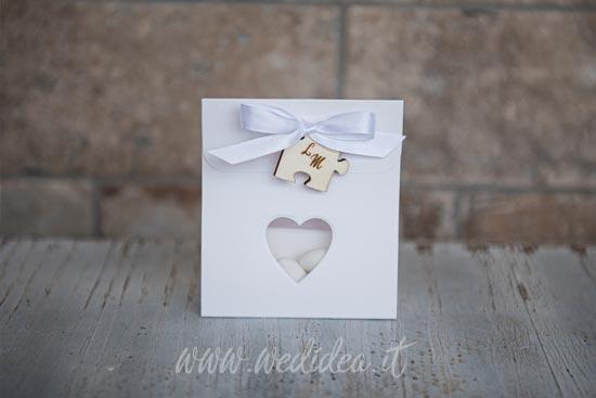 Sacchetto matrimonio confetti tema puzzle