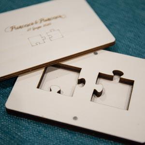 Scatola portafedi a tema puzzle